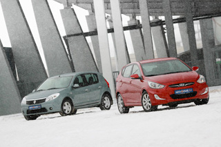 Тест-драйв Hyundai Solaris, Renault Sandero