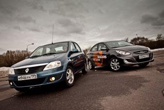 Тест-драйв Renault Logan, Hyundai Solaris